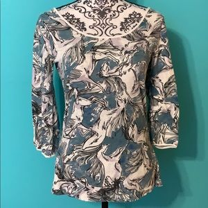 Anthropologie Postage Stamp Horse Back Tie Blouse